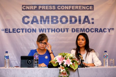 Vice President of the Cambodia National Rescue Party (CNRP), Mu Sochua and CNRP's Deputy Director for Foreign Affairs, Monovithya Kem, hold a press conference in Jakarta